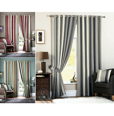 Luxury Striped Faux Silk Curtains Ready Made Eyelet Ring Top Fully Lined Curtain