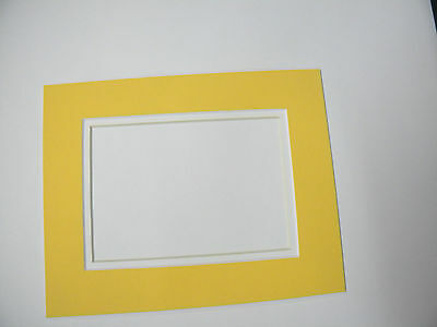 Picture Frame Double Mat 8x10 for 5x7 photo Yellow with white liner