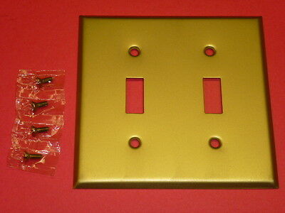NOS! LOT of (10) 2-GANG DULL BRASS ALLOY FINISH WALL SWITCH PLATE