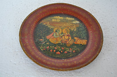 Vintage Lord Krishna & Radha In Garden Lacquer Handpainted Wall Hanging Plate