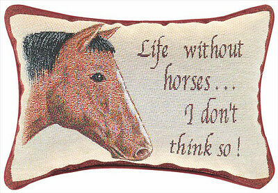 "Decorative Pillows - ""life Without Horses"" Pillow - Horse Pillow"