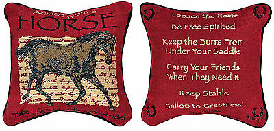 Pillows - Advice From A Horse Reversible Tapestry Throw Pillow - Equestrian