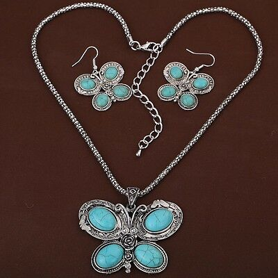 Retro Tibetan Silver Butterfly Carve Oval Turquoise Style Earrings Necklace Set
