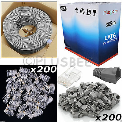 305M RJ45 Network Cat 6 Ethernet ADSL Cable Roll & Free 200 Connectors & Boots
