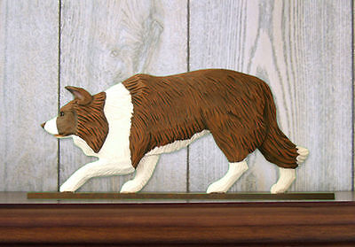 Border Collie Dog Figurine Sign Plaque Display Wall Decoration Red