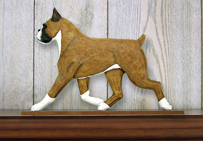 Boxer Dog Figurine Sign Plaque Display Wall Decoration Fawn