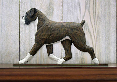 Boxer Uncropped Dog Figurine Sign Plaque Display Wall Decoration Brindle