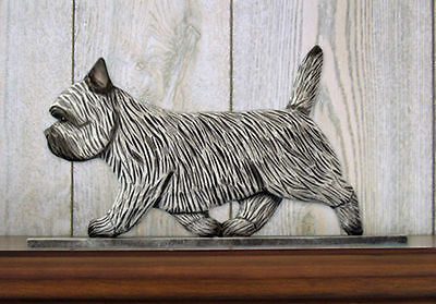 Cairn Terrier Dog Figurine Sign Plaque Display Wall Decoration Light Grey