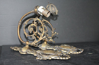 Pr. Of As Found Antique Bronze Wall Sconces With Filigree (One Unstable) 6822