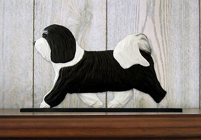 Havanese Dog Figurine Sign Plaque Display Wall Decoration Black/White