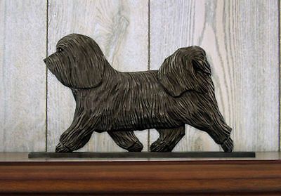 Havanese Dog Figurine Sign Plaque Display Wall Decoration Dark Grey