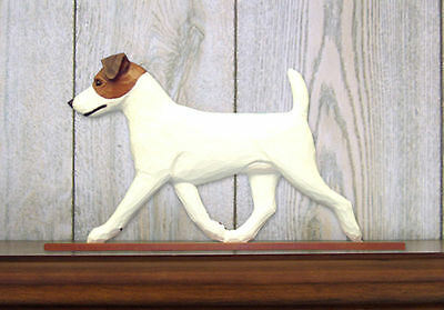 Jack Russell Terrier Dog Figurine Sign Plaque Display Wall Decoration Brown/Whit