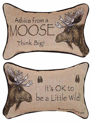 Decorative Pillows - Advice From A Moose Reversible Pillow - Lodge Decor