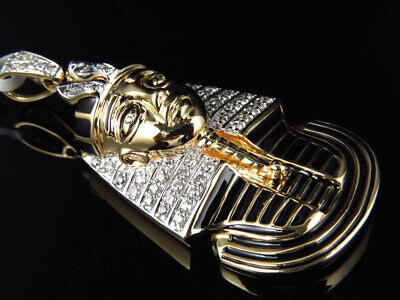 Egyptian Pharaoh King Tut Real Diamond Pendant 10k Yellow Gold Enamel Coating