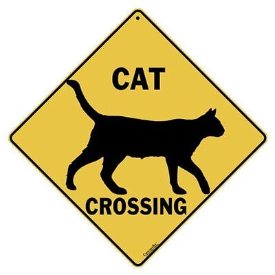 Cat Silhouette Crossing Sign NEW 12X12 Metal