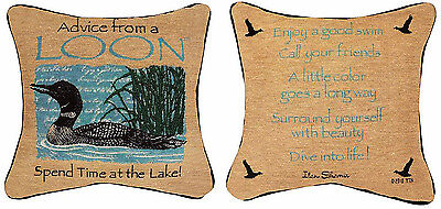 """ADVICE FROM A LAKE REVERSIBLE TAPESTRY PILLOW 12.5/"""" SQUARE LAKE HOUSE DECOR"""