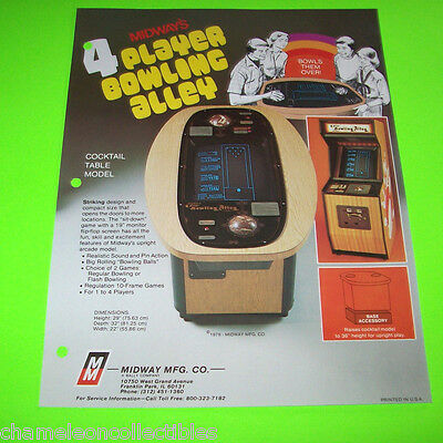 4 PLAYER BOWLING ALLEY By MIDWAY 1979 ORIGINAL VIDEO ARCADE GAME SALES FLYER