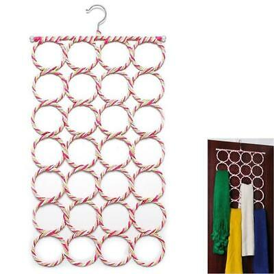 HOT 28-Hole Ring Rope Scarf Holder Hanger Wraps Storage Business Display Hook-LG