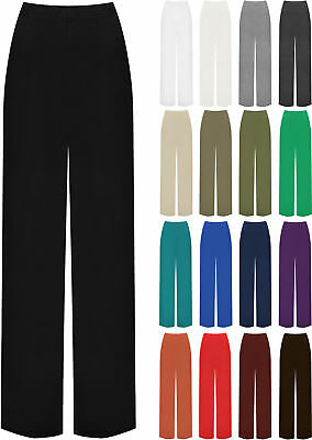 New Plus Size Womens Plain Palazzo Wide Leg Flared Ladies Trousers Pants 16-26
