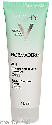 Vichy NORMADERM 3 in 1 Scrub + Cleanser + Mask 125ml Polish/Face Wash/Masque NEW