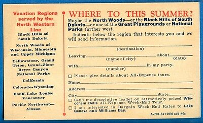 Chicago & North Western Railway Adv Business Reply Card For Vacation Tours