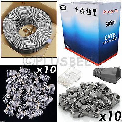 305M Metre CAT6 Network Internet Cable Roll + RJ45 10pc Connectors & Boots Free