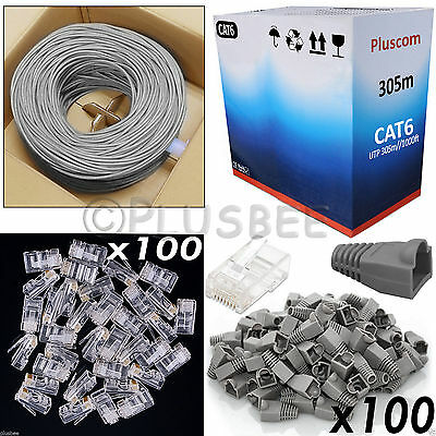 305M Network Cat 6 Ethernet Cable Roll & Free RJ45 100pc Connector & Boots Kit