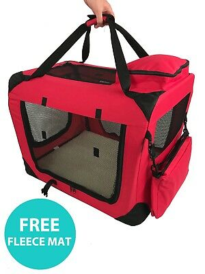 RayGar Pet Carrier Soft Crate Portable Foldable Fabric - Red