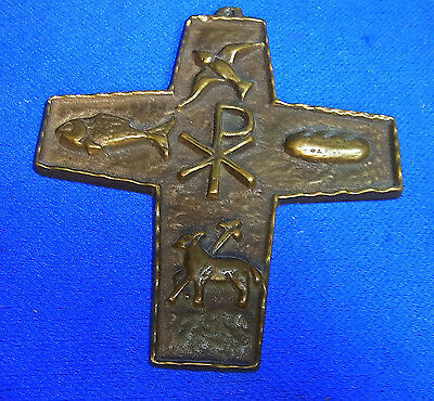Vintage German Brass or Bronze Christianity Cross #AO
