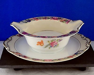 KPM Kjobenhavns Porcelain Cream & Floral Rim,Multi Flower Center