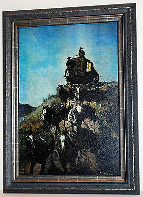 """Night Stage"" Art Print of Stagecoach by Frederick Remington 22x28 frame (MS155)"