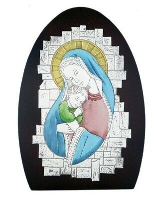 Blessed Mary Hand Colored Catholic Madonna & Child Icon Jesus Wood Plaque Italy
