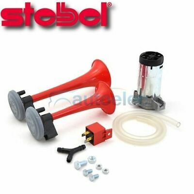 Stebel Twin Air Horn Trumpet New For Car Truck 12V 12 Volt Red Gp2
