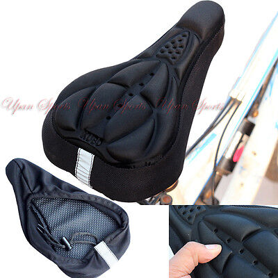 MTB Bike Bicycle 3D Silicone Gel Pad Black Seat Saddle Cover Thick Soft Cushion