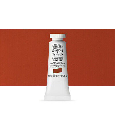 Winsor & Newton : Designer Gouache Paint : 14ml : Burnt Sienna