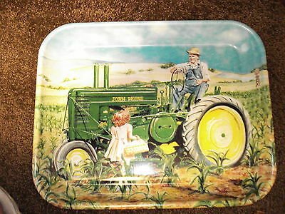"""John Deere 2000 """"daddy's Girl"""" Featuring Model """"a"""" Tractor, Metal Tray"""