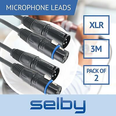 2x 3m 3-Pin XLR Balanced Audio Cable Microphone Lead Mic Cord Fits Cannon Plug
