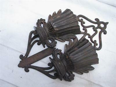 Antique 1867 Pat Cast Iron Match Safe Holder Double Basket Ornate Fireplace Tool
