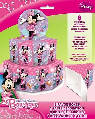 MINNIE MOUSE BOW-TIQUE FAVOR BOXES CENTERPIECE for 8 ~ Birthday Party Supplies