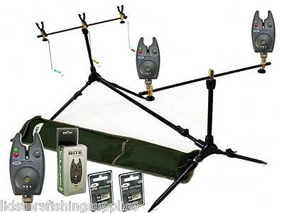 NEW NGT CARP FISHING MULTI ROD POD WITH SWINGERS + 2 VX Bite Alarms Batteries