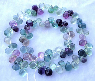 Natural Rainbow Fluorite Teardrop Beads 6×9mm 15.5""