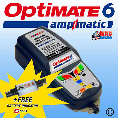 OptiMate 6 Car, Motorcycle, Motorhome Battery Charger Maintainer Tester + O-123