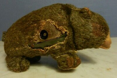 Pre-war japanese made mechanical bear by ALPS attic find Tin body fabric fur