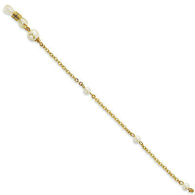 """Cultura Glass Pearl Eyeglass Holder Chain 30"""" Gold Tone 1928 Boutique"""