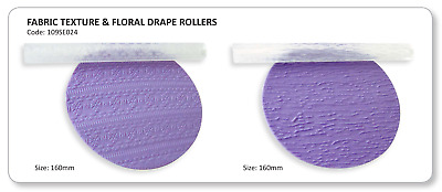 JEM Set of 2 Fabric & Floral Drape Textured Rolling Pins Icing Sugarcraft Cake