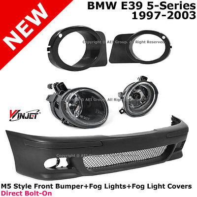 BMW E39 96-03 M5 Style PP Front Bumper Cover + Clear Fog Lights