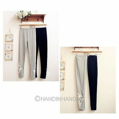 New Women Fashion Gray/ Black Leggings Side Hollow Lace Flower Elastic Pants