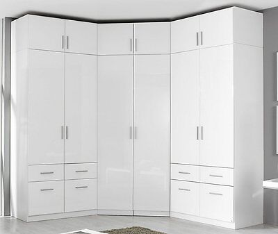 kleiderschrank eckkombination eckschrank mit aufsatz hochglanz wei schubladen eur 999 00. Black Bedroom Furniture Sets. Home Design Ideas