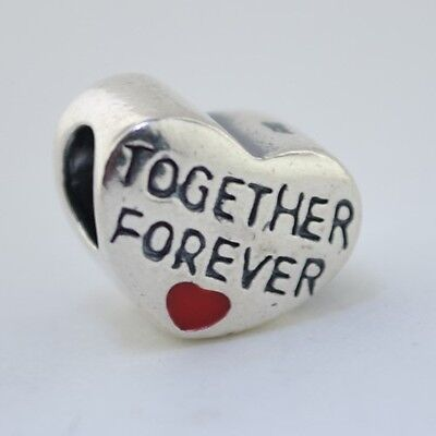Sterling Silver 925 European Charm Together Forever w/ Red Heart Bead 88148