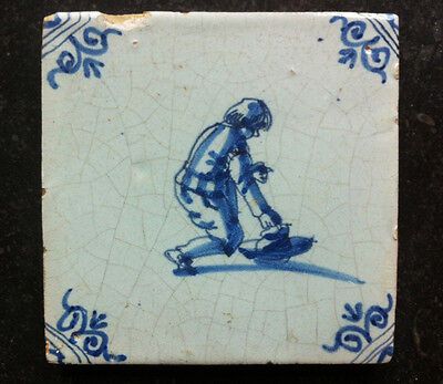 Antique Dutch Delft Tile Children-Play 17th C ''Kinderspel Tegel''
